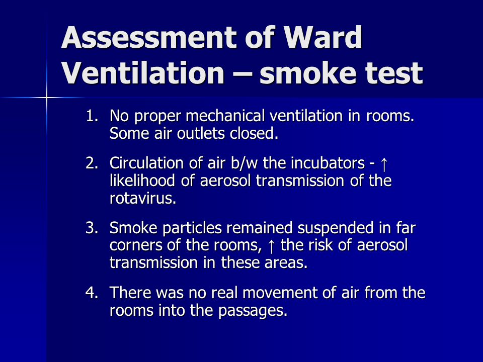Assessment of Ward Ventilation – smoke test