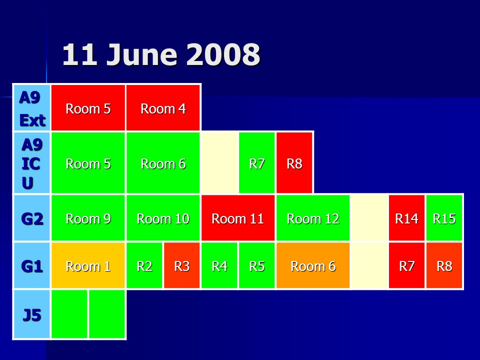 11 June 2008 A9 Ext A9 ICU G2 G1 J5 Room 5 Room 4 Room 6 R7 R8 Room 9