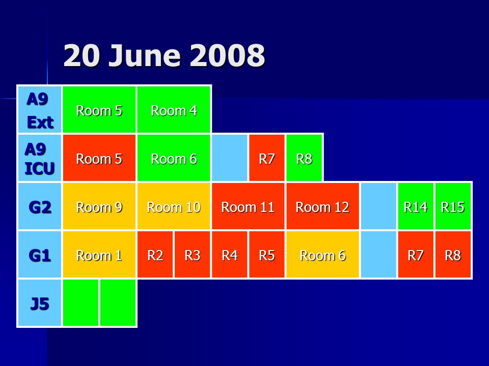 20 June 2008 A9 Ext A9 ICU G2 G1 J5 Room 5 Room 4 Room 6 R7 R8 Room 9