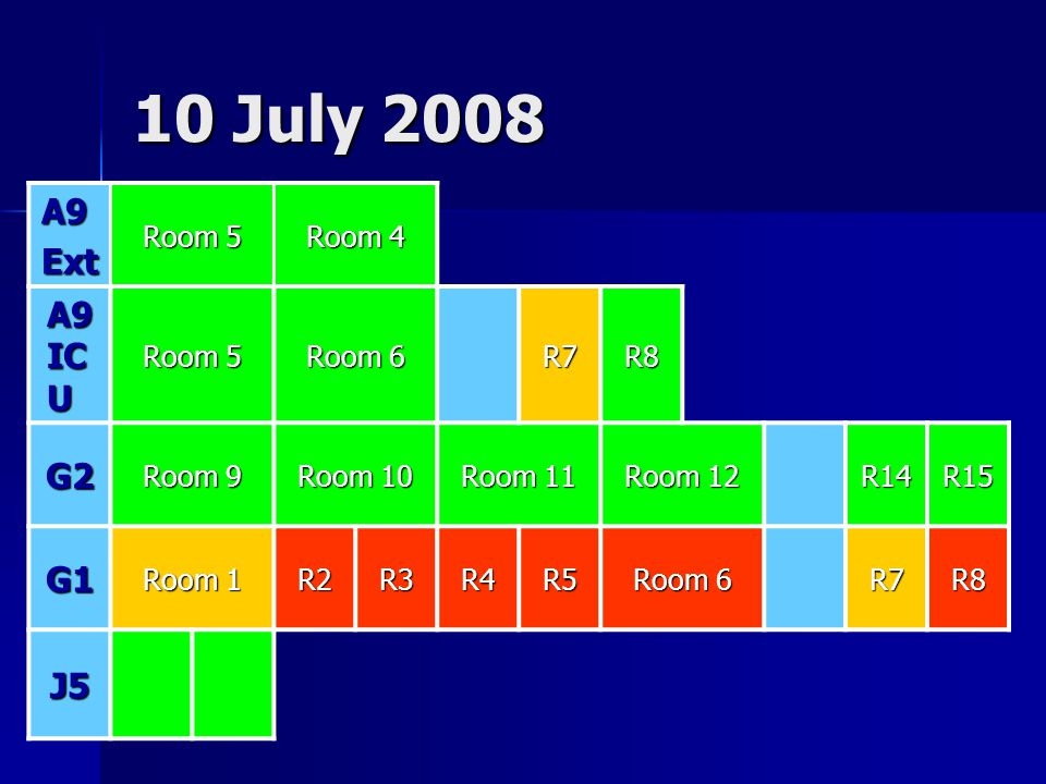 10 July 2008 A9 Ext A9 ICU G2 G1 J5 Room 5 Room 4 Room 6 R7 R8 Room 9