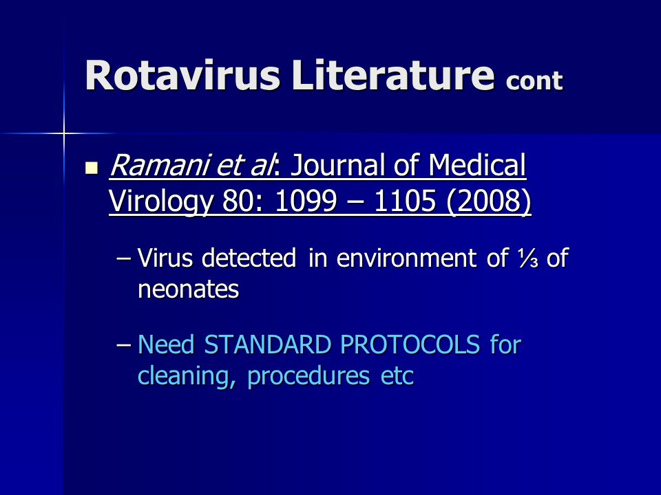 Rotavirus Literature cont