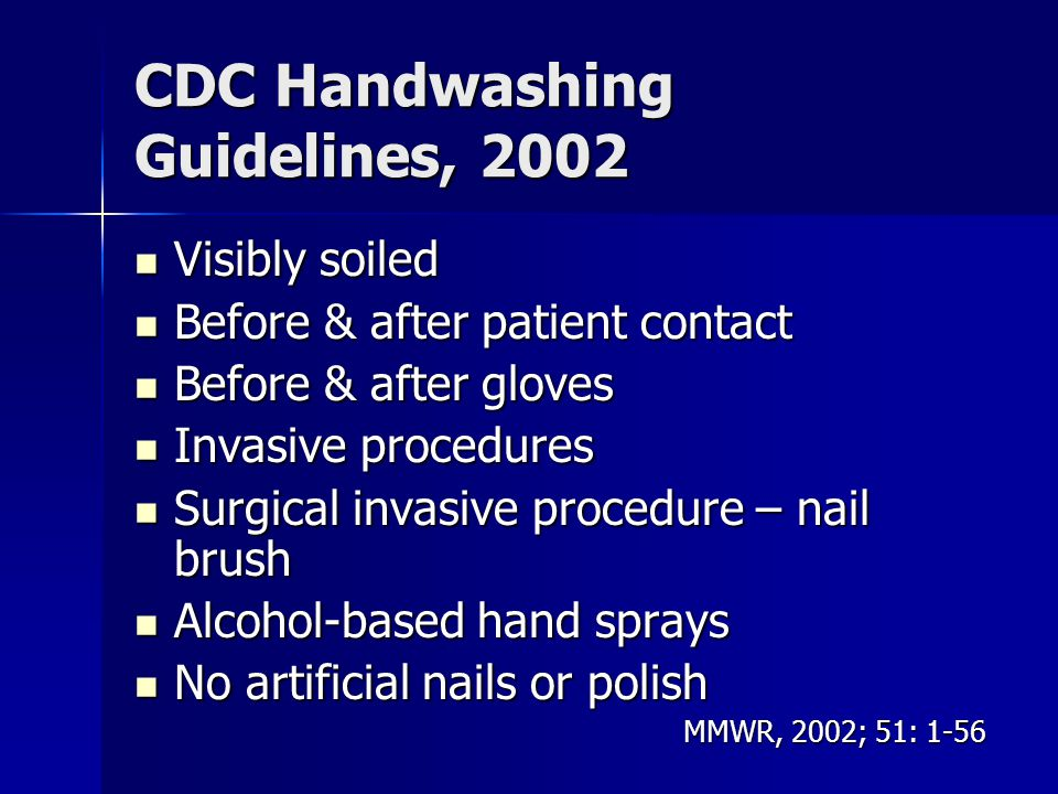 CDC Handwashing Guidelines, 2002