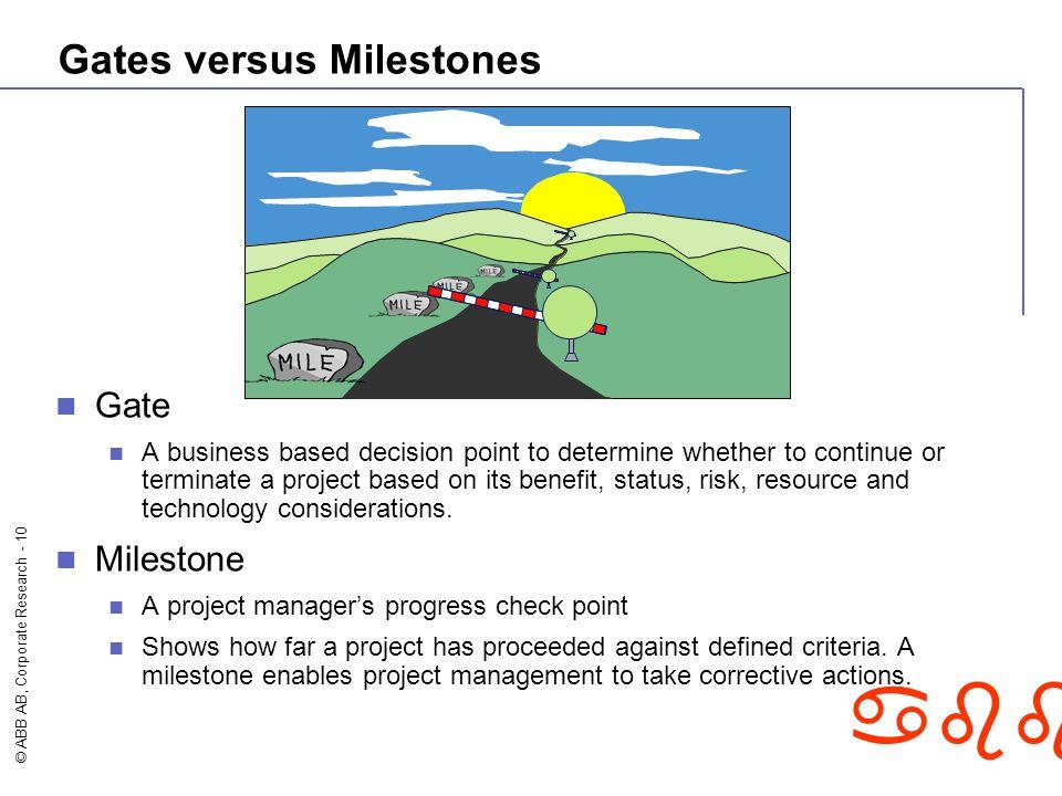 Gates versus Milestones