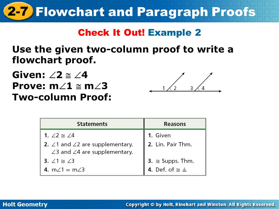 Check It Out! Example 2 Use the given two-column proof to write a flowchart proof. Given: 2  4.