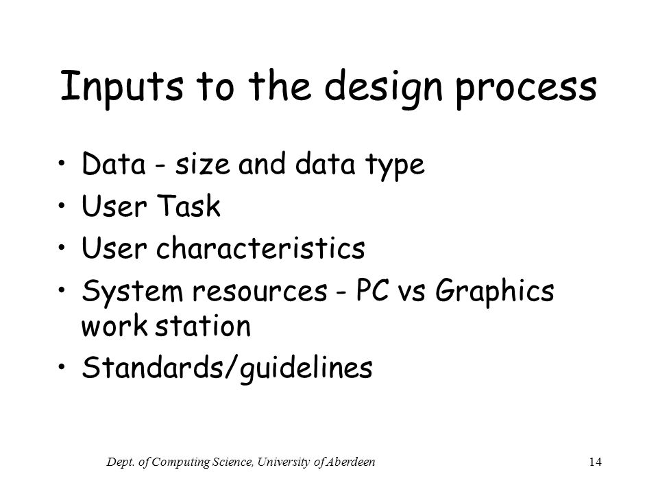 Inputs to the design process
