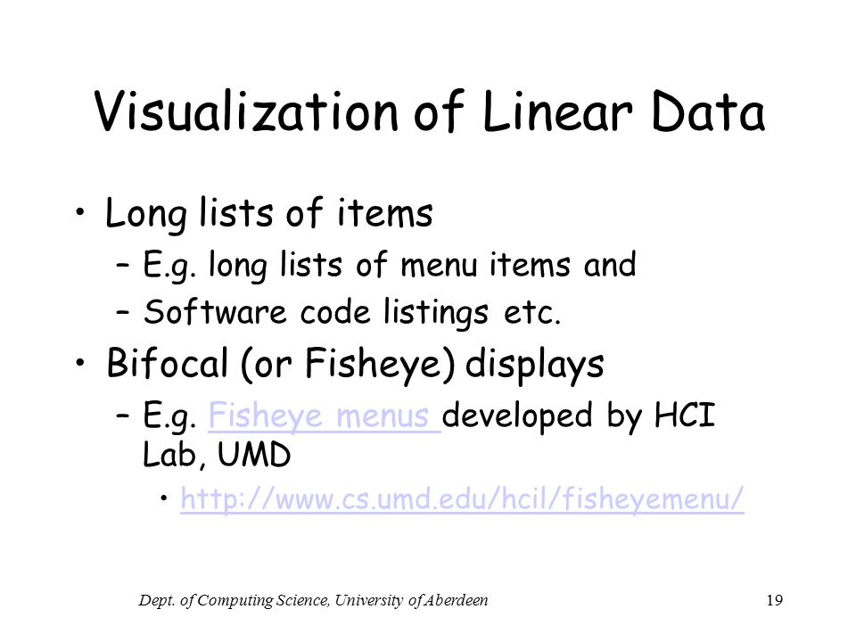 Visualization of Linear Data