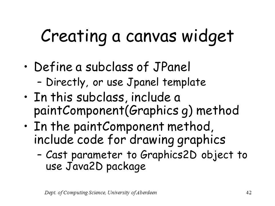 Creating a canvas widget