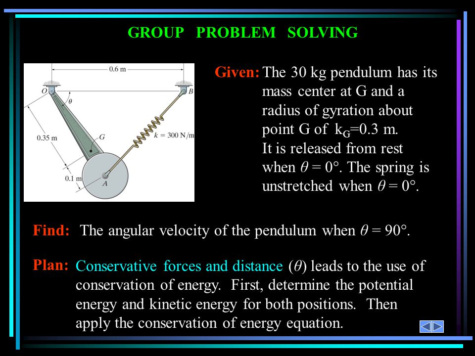 GROUP PROBLEM SOLVING Given: The 30 kg pendulum has its mass center at G and a radius of gyration about point G of kG=0.3 m.