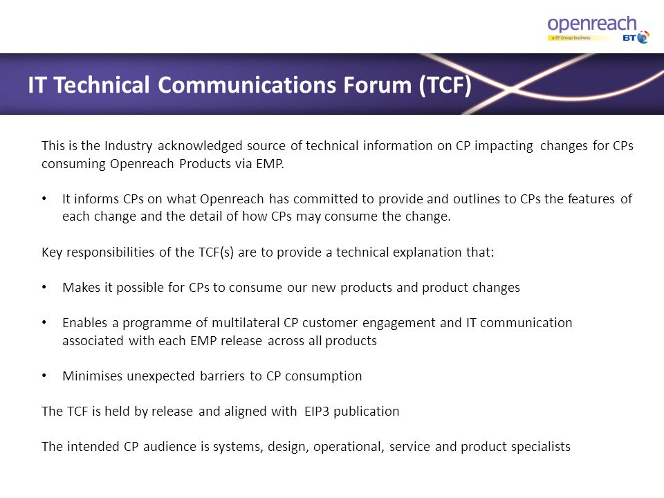 IT Technical Communications Forum (TCF)