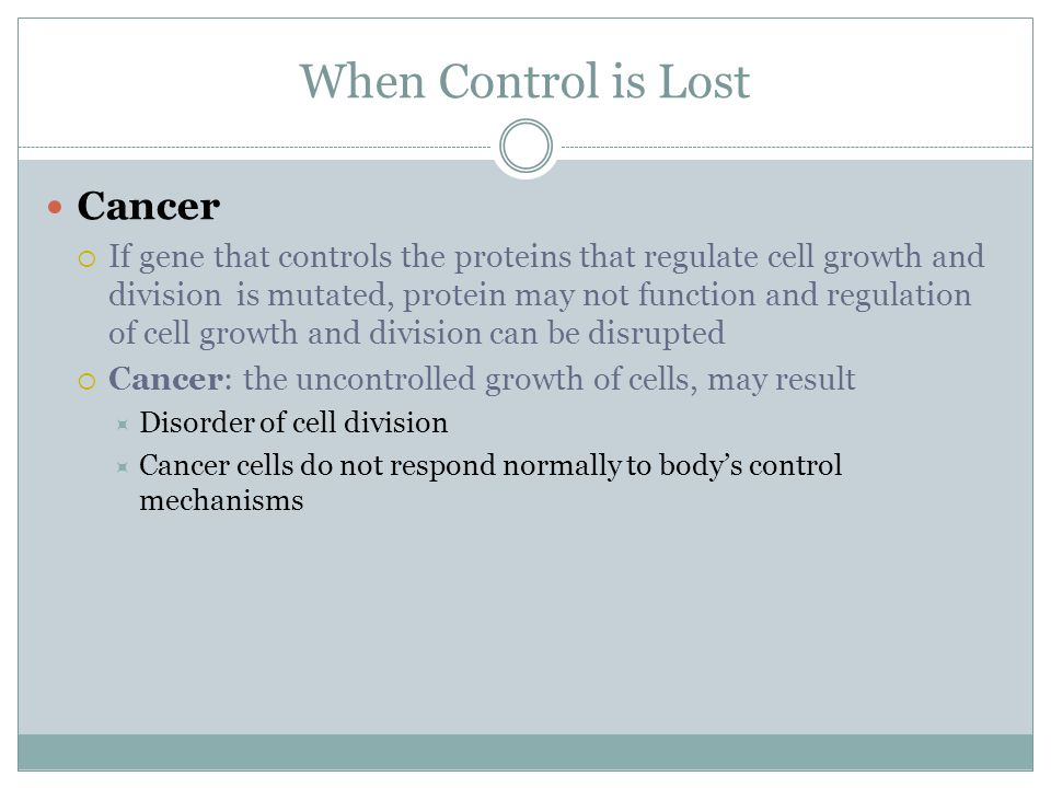 When Control is Lost Cancer