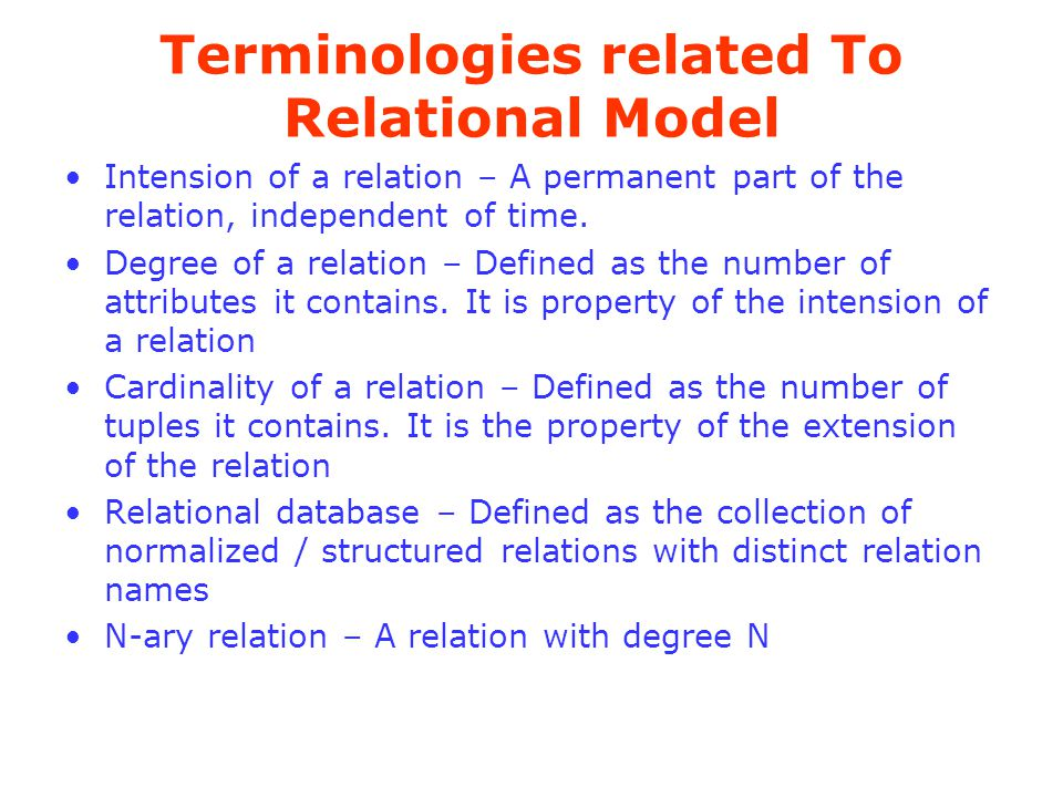 Terminologies related To Relational Model
