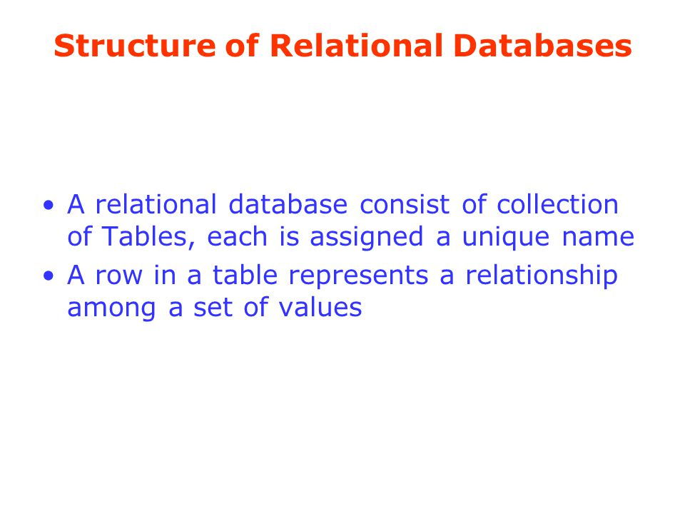 Structure of Relational Databases