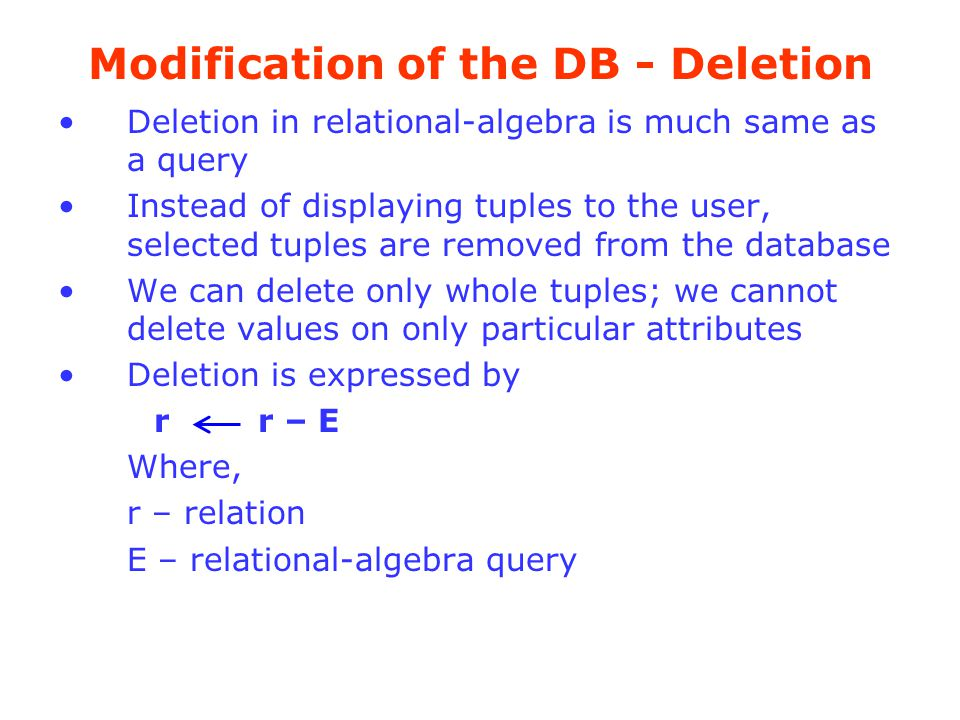 Modification of the DB - Deletion