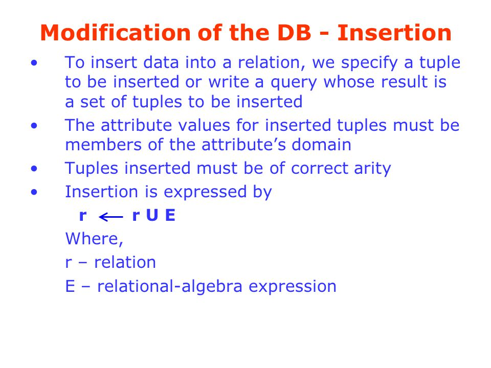 Modification of the DB - Insertion