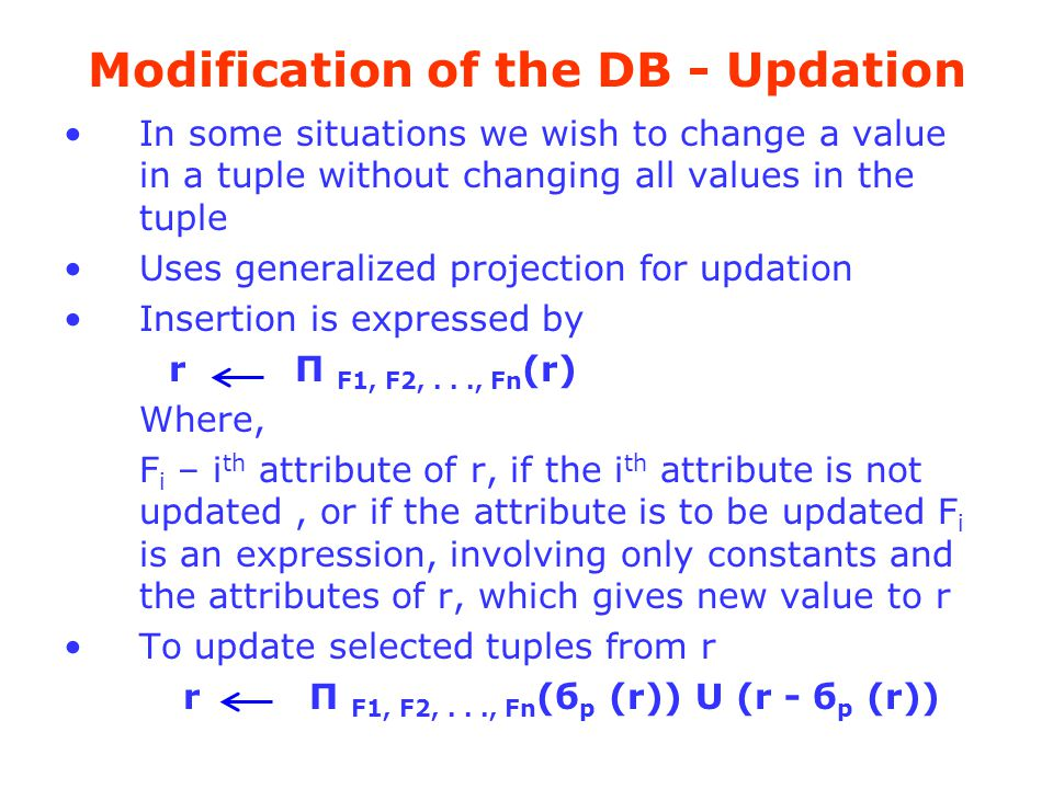 Modification of the DB - Updation