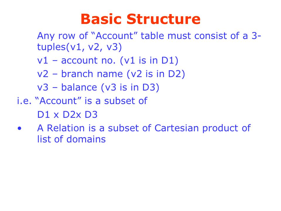 Basic Structure Any row of Account table must consist of a 3-tuples(v1, v2, v3) v1 – account no. (v1 is in D1)
