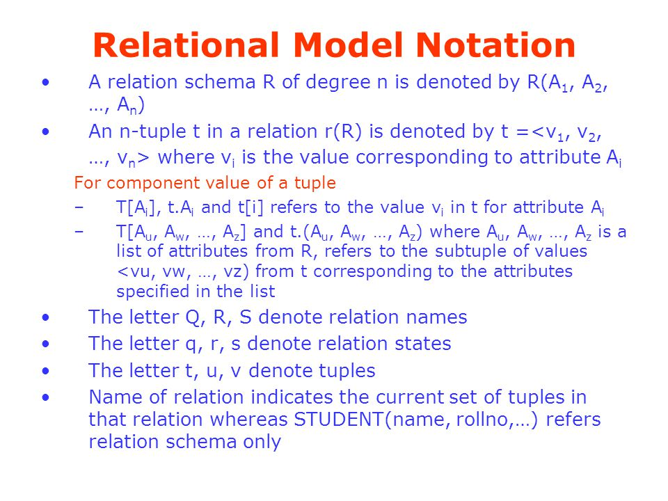 Relational Model Notation