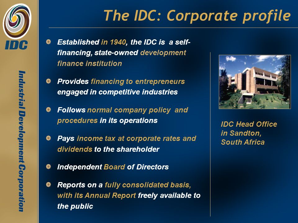 The IDC: Corporate profile