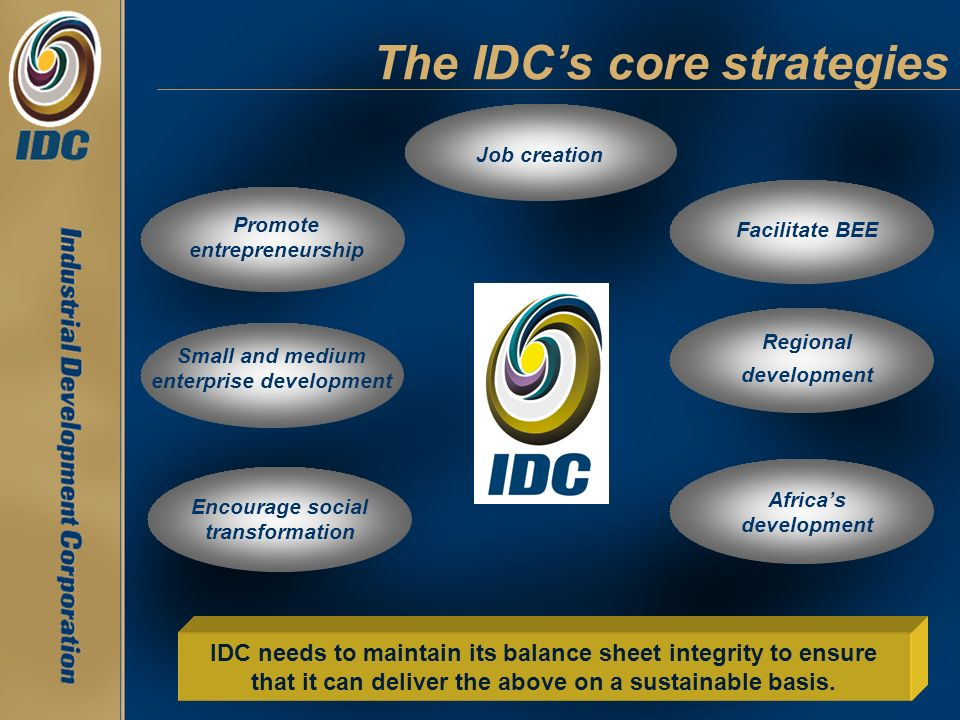 The IDC's core strategies