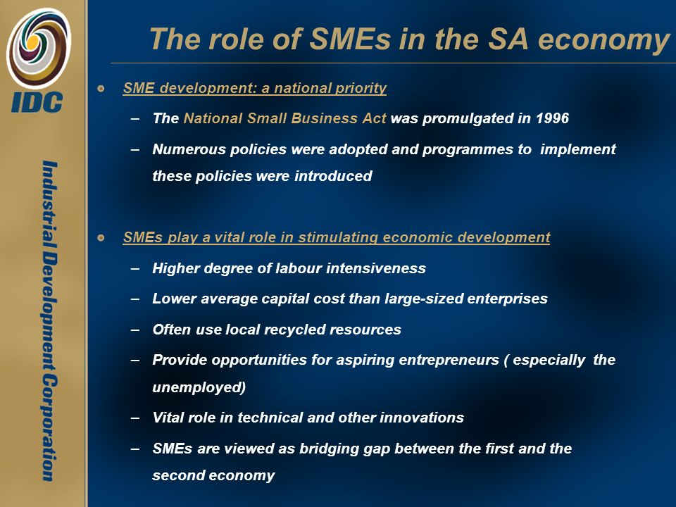 The role of SMEs in the SA economy