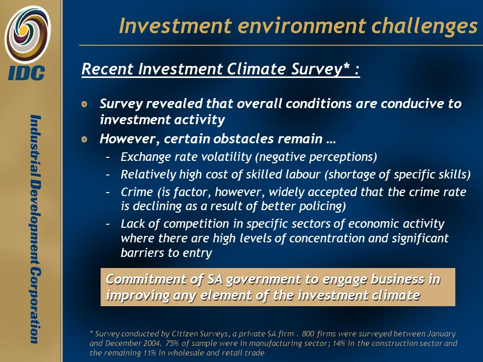 Investment environment challenges