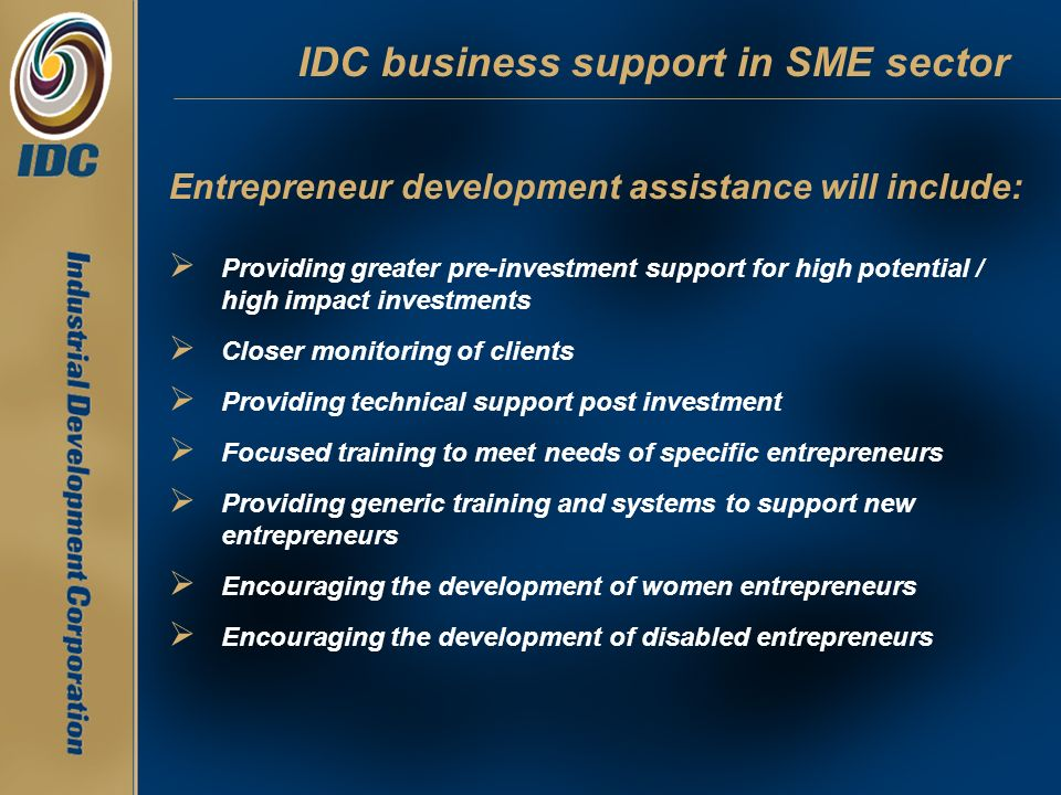 IDC business support in SME sector