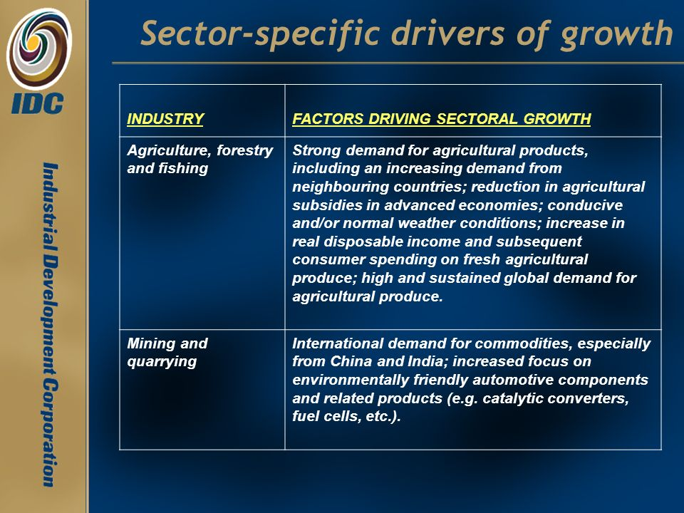 Sector-specific drivers of growth