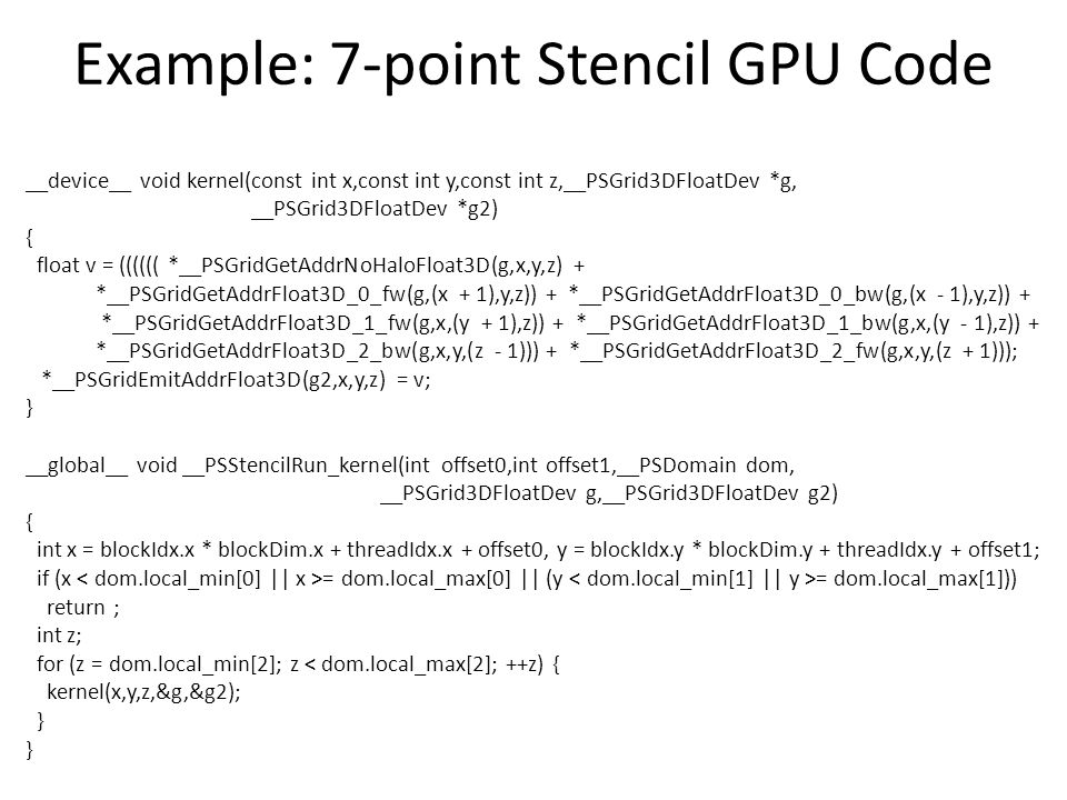 Example: 7-point Stencil GPU Code