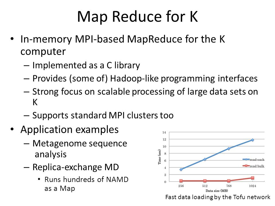 Map Reduce for K In-memory MPI-based MapReduce for the K computer