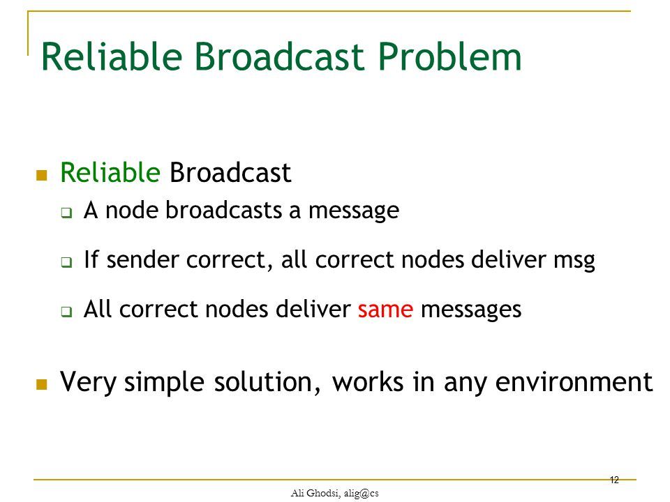 Reliable Broadcast Problem