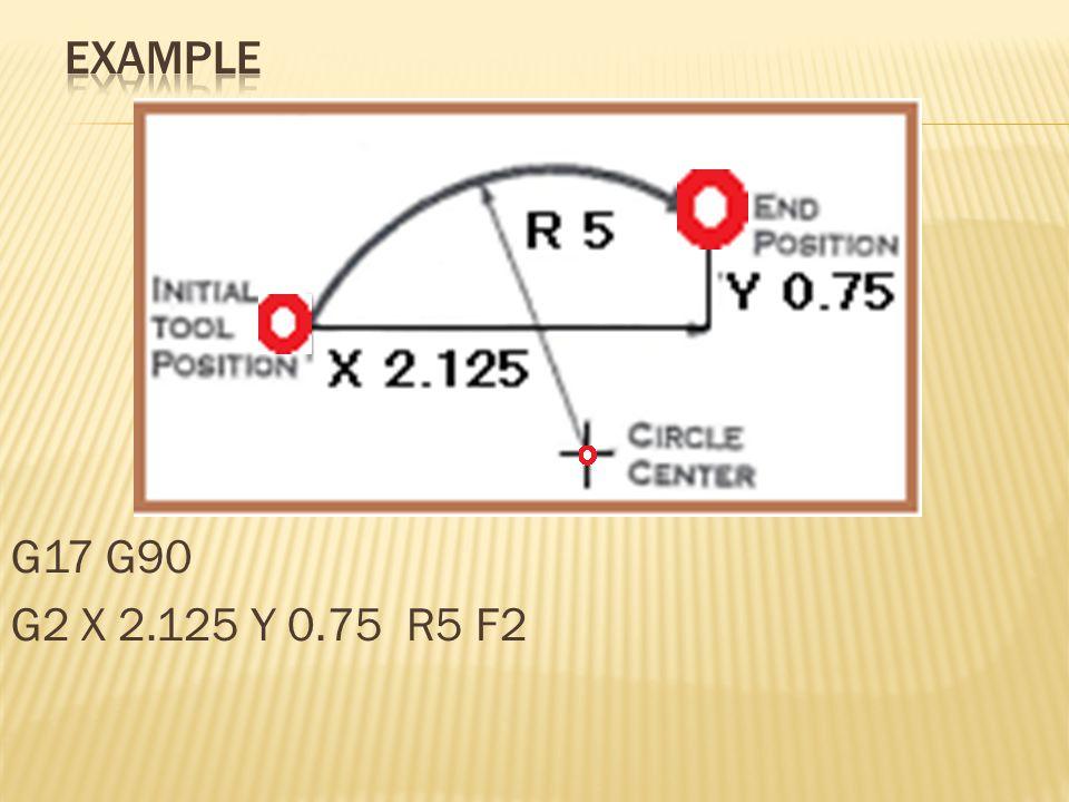 Example G17 G90 G2 X 2.125 Y 0.75 R5 F2