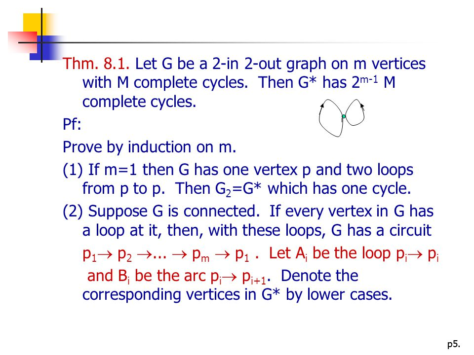 Thm. 8.1. Let G be a 2-in 2-out graph on m vertices with M complete cycles. Then G* has 2m-1 M complete cycles.