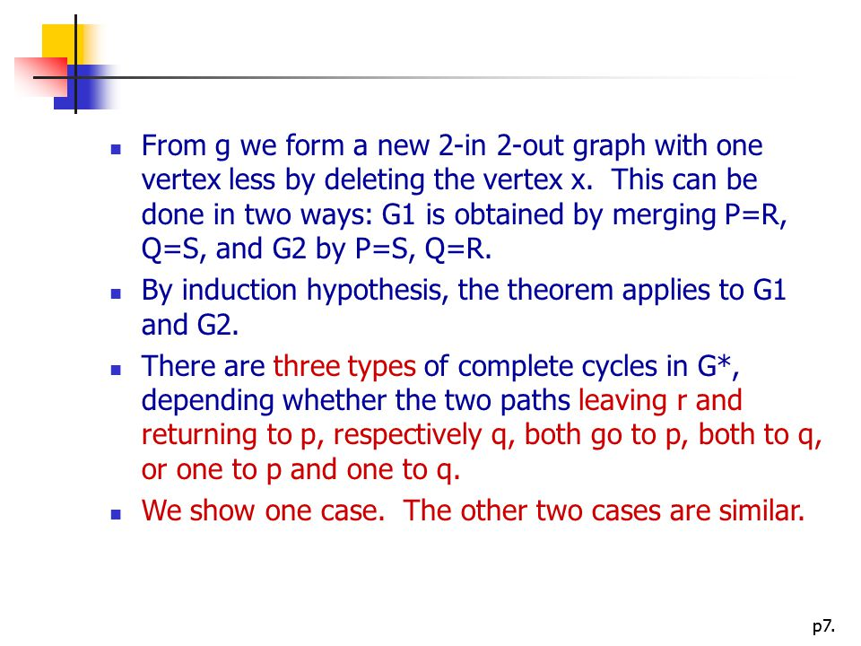 From g we form a new 2-in 2-out graph with one vertex less by deleting the vertex x. This can be done in two ways: G1 is obtained by merging P=R, Q=S, and G2 by P=S, Q=R.
