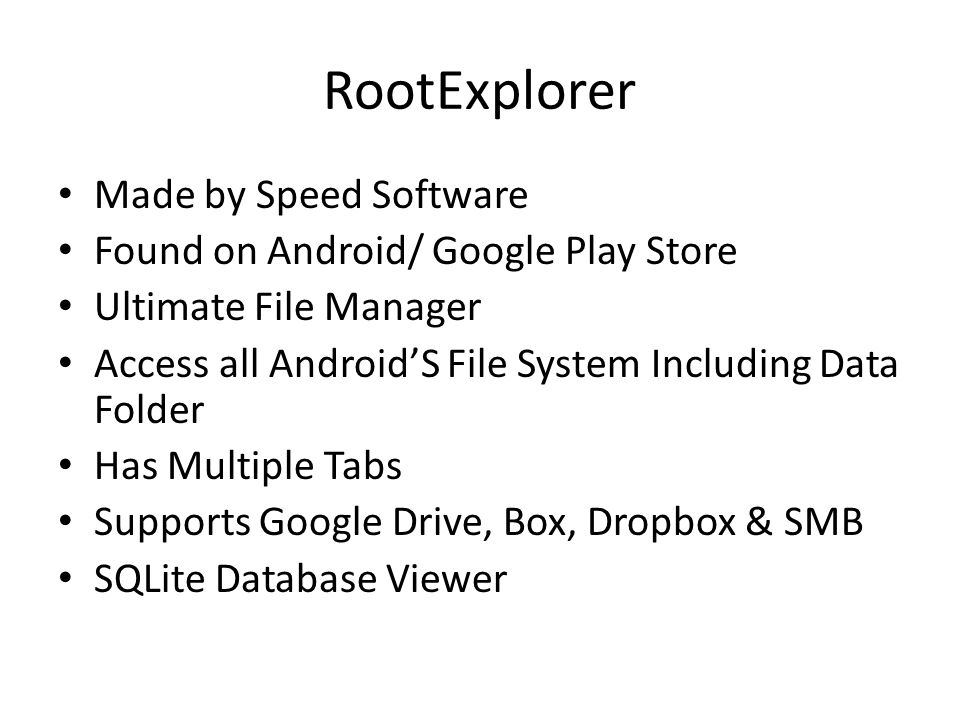 RootExplorer Made by Speed Software