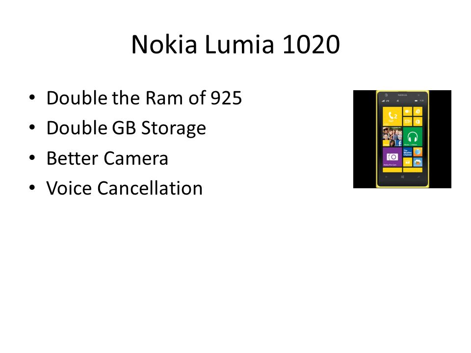 Nokia Lumia 1020 Double the Ram of 925 Double GB Storage Better Camera