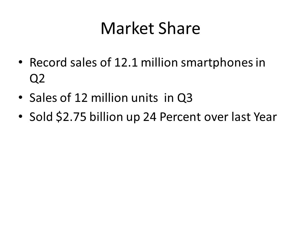 Market Share Record sales of 12.1 million smartphones in Q2