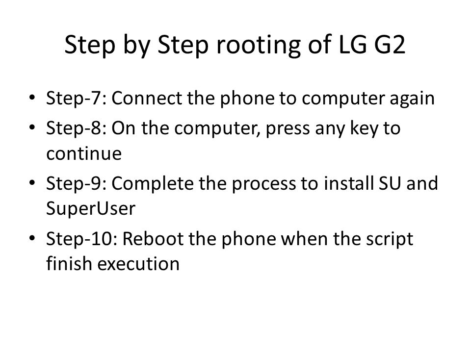 Step by Step rooting of LG G2