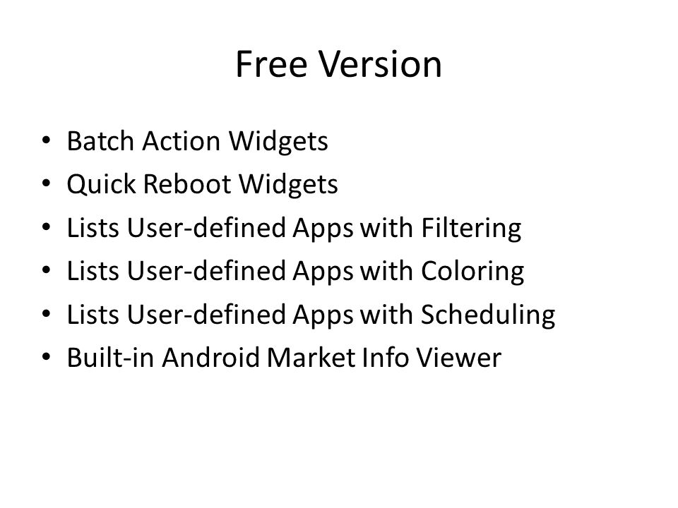 Free Version Batch Action Widgets Quick Reboot Widgets