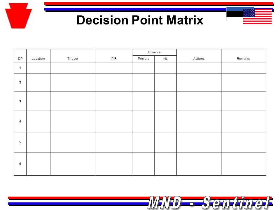Decision Point Matrix DP Location Trigger PIR Observer Actions Remarks