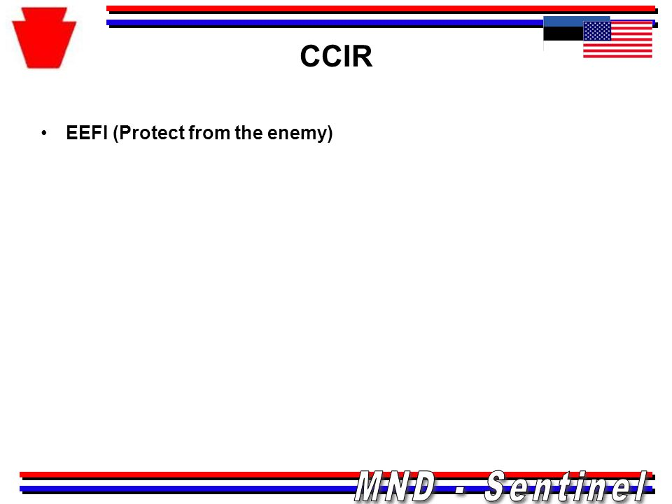 CCIR EEFI (Protect from the enemy)