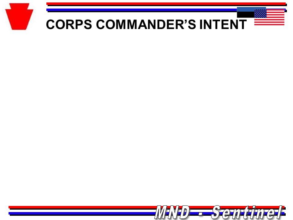 CORPS COMMANDER'S INTENT