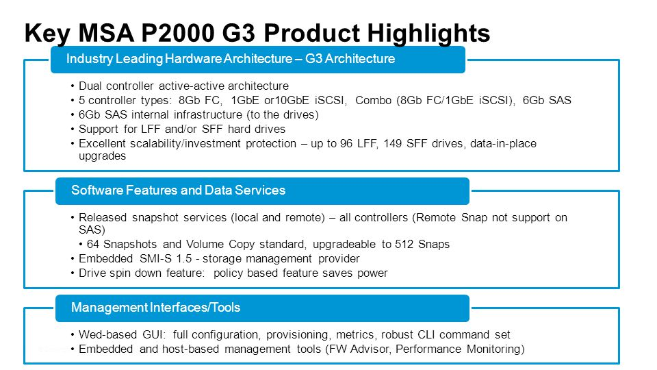 Key MSA P2000 G3 Product Highlights