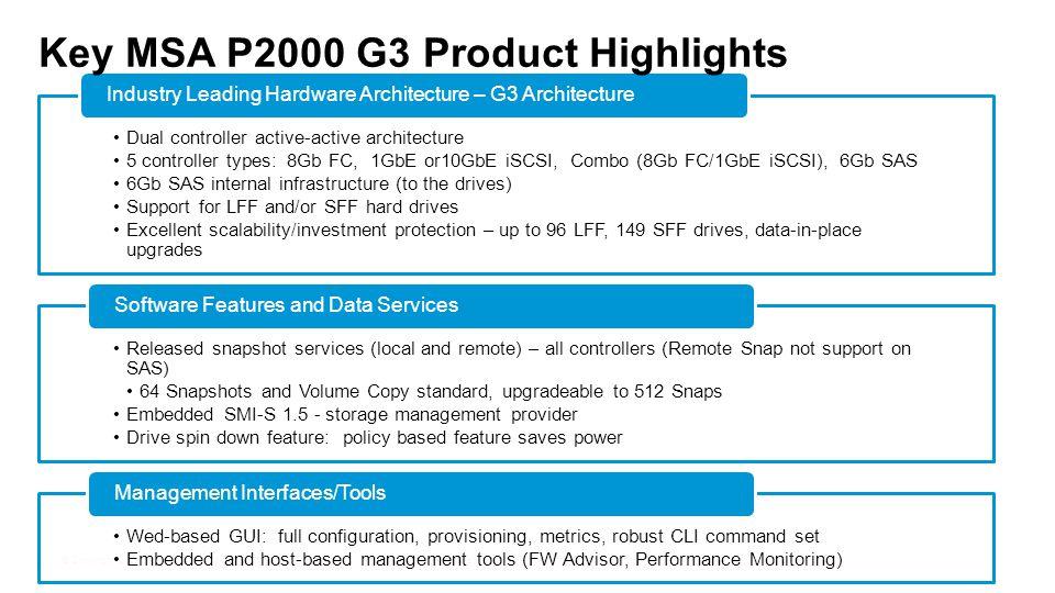 Key MSA P2000 G3 Product Highlights