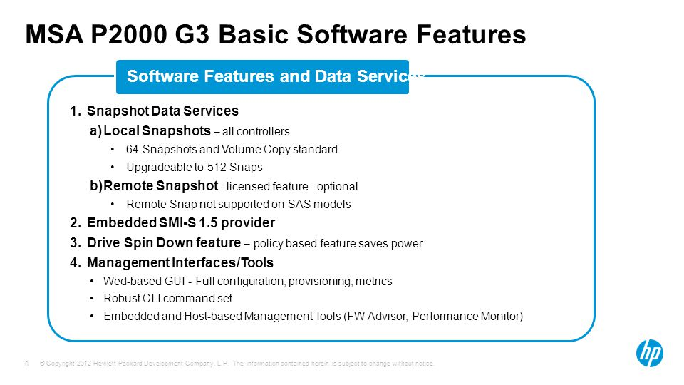 MSA P2000 G3 Basic Software Features