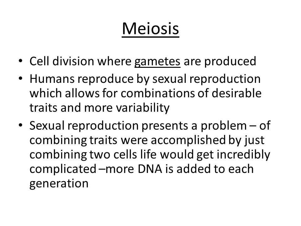 Meiosis Cell division where gametes are produced