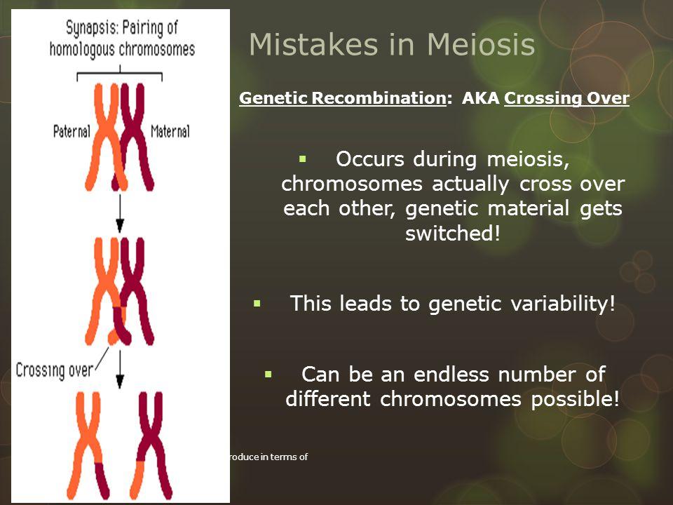Genetic Recombination: AKA Crossing Over