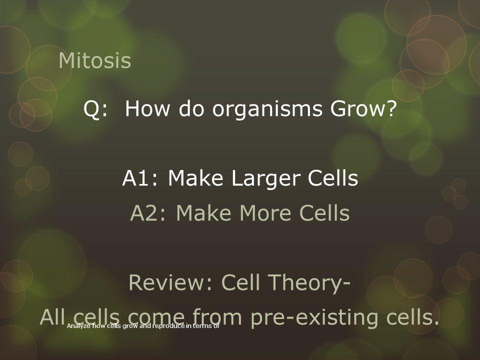 Q: How do organisms Grow
