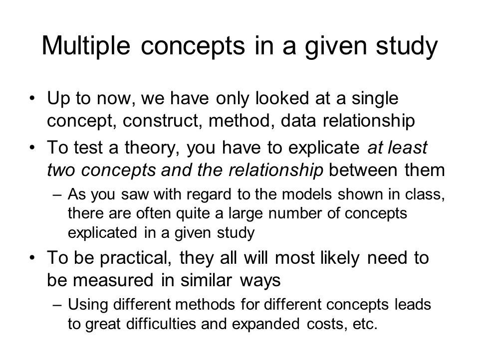 Multiple concepts in a given study
