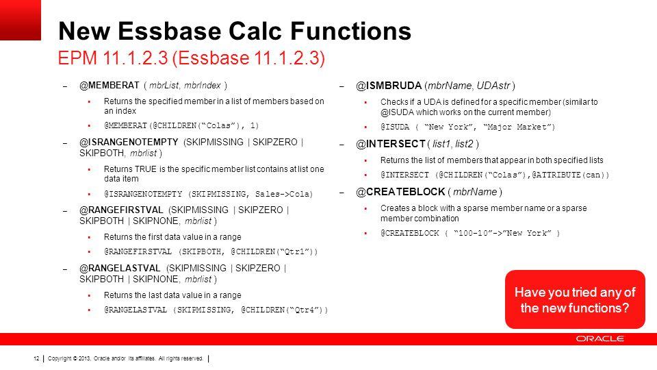 New Essbase Calc Functions
