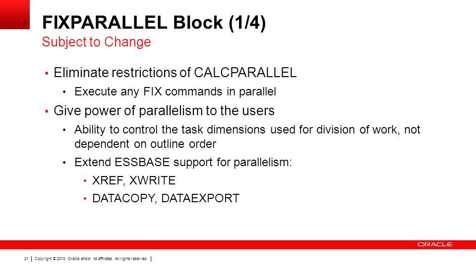 FIXPARALLEL Block (1/4) Subject to Change